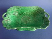 Large Wedgwood Green Majolica 'Sunflower' Comport c1869